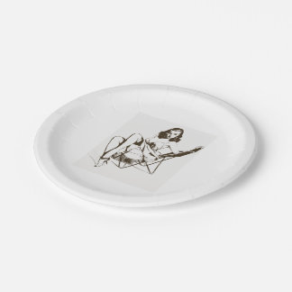 Vintage Chair Pin Up Girl outline Paper Plate