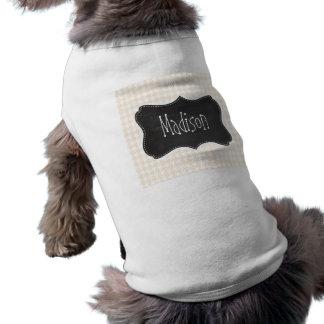 Vintage Chalkboard; Antique White Houndstooth Dog Tee