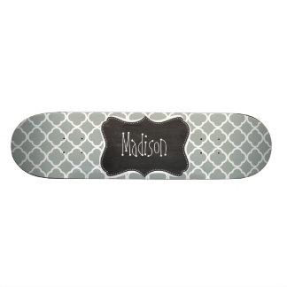 Vintage Chalkboard Ash Gray; Grey Quatrefoil Skateboard Deck