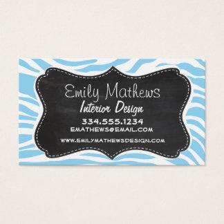 Vintage Chalkboard; Baby Blue Zebra Animal Print Business Card