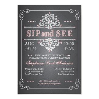 Vintage Chalkboard Baby Girl Sip & See Invitation