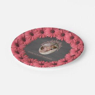 Vintage Chalkboard Baby Shower | Brown Pink Floral Paper Plate