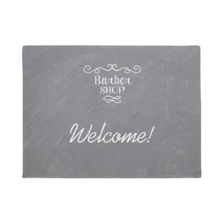 Vintage chalkboard barber shop white swirls doormat