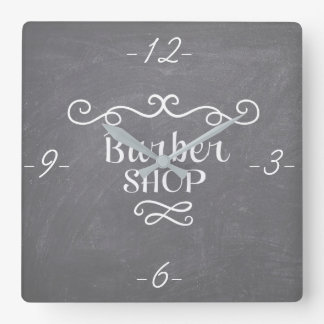 Vintage chalkboard barber shop white swirls square wall clock