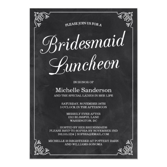 Vintage Chalkboard Bridal Shower Luncheon Card