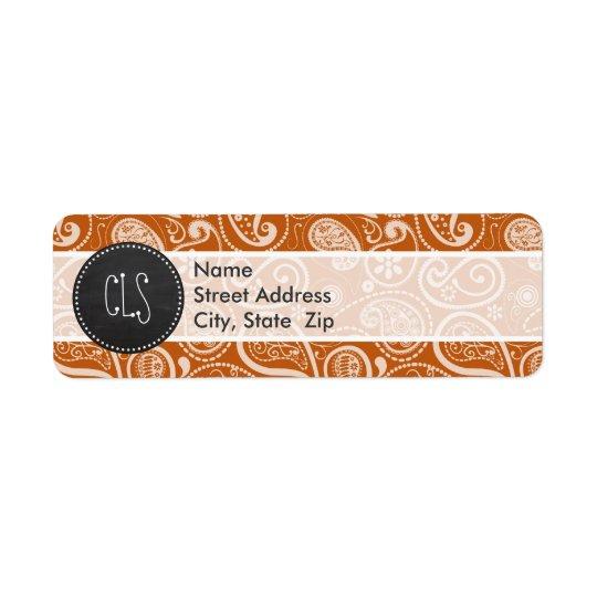 Vintage Chalkboard Burnt Orange Paisley; Floral Return Address Label