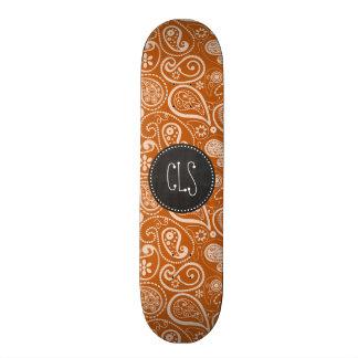 Vintage Chalkboard Burnt Orange Paisley; Floral Skate Board