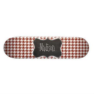 Vintage Chalkboard; Burnt Umber Houndstooth Skateboard Decks