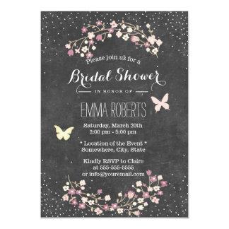 "Vintage Chalkboard Butterfly Floral Bridal Shower 5"" X 7"" Invitation Card"