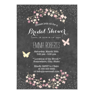 Vintage Chalkboard Butterfly Floral Bridal Shower Card