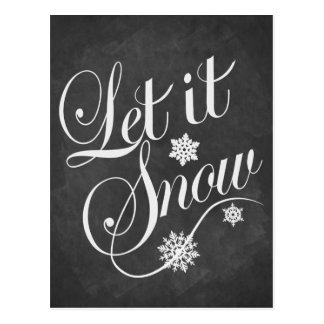 Vintage chalkboard Christmas card Let It Snow Postcard
