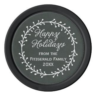 Vintage Chalkboard Christmas Wreath Happy Holidays Poker Chips