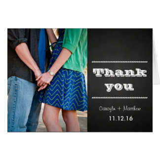 Vintage Chalkboard Couples Photo Wedding Thank You Card