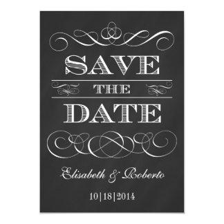Vintage Chalkboard Elegant Old Style Save the Date Card