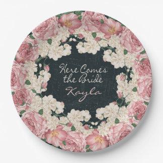 Vintage, Chalkboard, Floral Bridal Shower Plates
