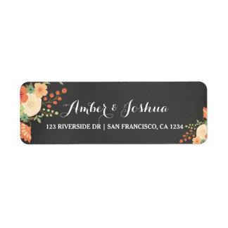 Vintage Chalkboard & Floral Return Address Label