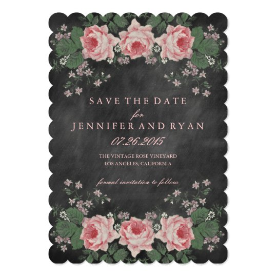 Vintage Chalkboard Floral Rose Save the Date Card