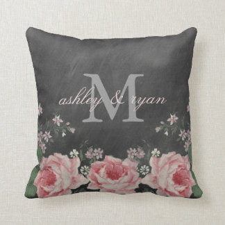 VINTAGE CHALKBOARD FLOWER MONOGRAM PILLOW