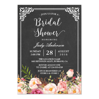 Vintage Chalkboard Frame Floral Bridal Shower Card