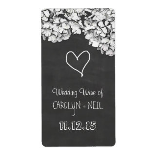 Vintage Chalkboard Hydrangea Flowers Wedding Wine Shipping Label