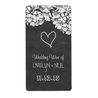 Vintage Chalkboard Hydrangea Flowers Wedding Wine Shipping Label