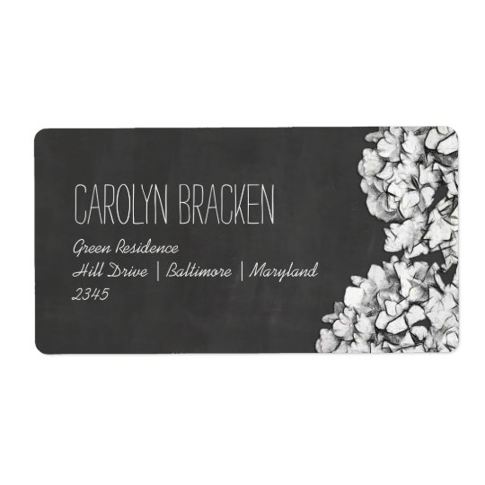 Vintage Chalkboard Hydrangeas Floral Wedding Shipping Label