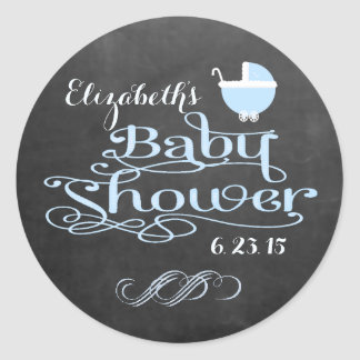 Vintage Chalkboard Look Fancy Swirls Baby Shower Classic Round Sticker