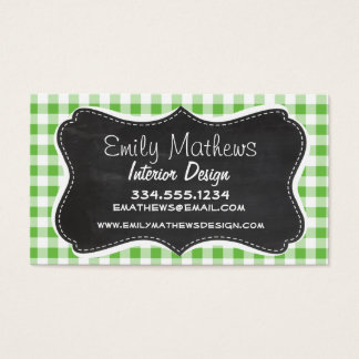 Vintage Chalkboard look, Green Checkered; Gingham Business Card