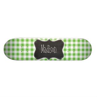 Vintage Chalkboard look, Green Checkered; Gingham Skateboard Decks