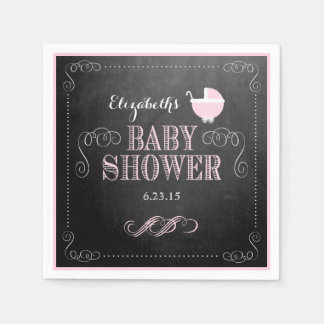 Vintage Chalkboard Look Pink Carriage Baby Shower Disposable Napkin
