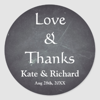 Vintage Chalkboard Love and Thanks Favor Classic Round Sticker