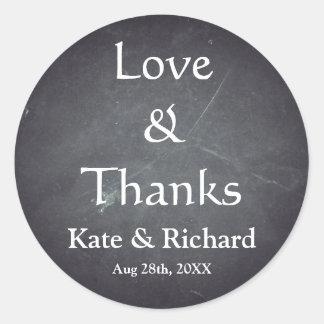 Vintage Chalkboard Love and Thanks Favor Round Sticker