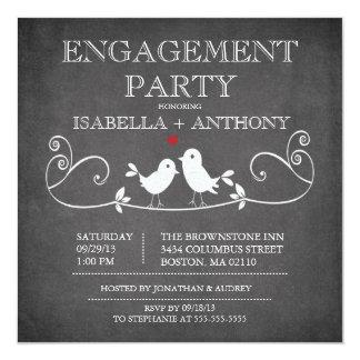 "Vintage Chalkboard Love Birds ENGAGEMENT Party 5.25"" Square Invitation Card"
