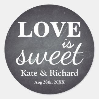 Vintage Chalkboard Love is Sweet Wedding Round Sticker