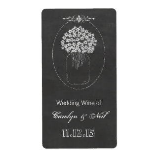Vintage Chalkboard Mason Jar Wedding Wine Shipping Label