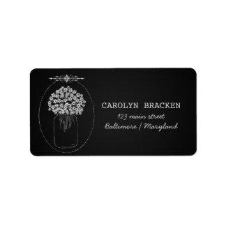 Vintage Chalkboard MasonJar Flowers Wedding Label