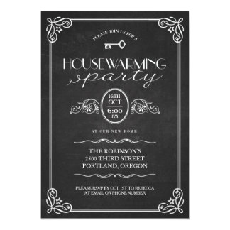 Vintage Chalkboard New Home Housewarming Party Card