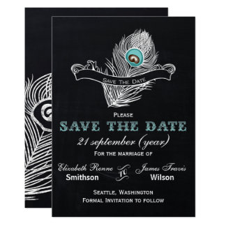Vintage Chalkboard peacock save the date Card