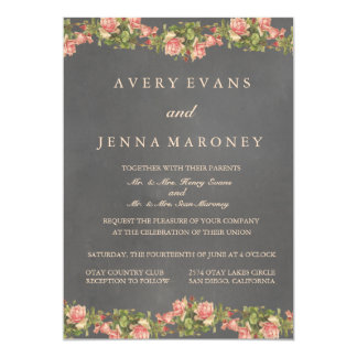 Vintage Chalkboard Pink Flower Wedding Invitation
