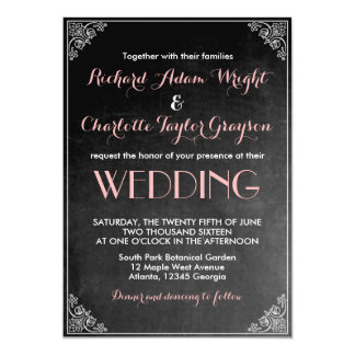 Vintage Chalkboard Pink Grey Wedding Invitation
