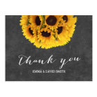 Vintage Chalkboard Sunflower Ball Thank You Postcard
