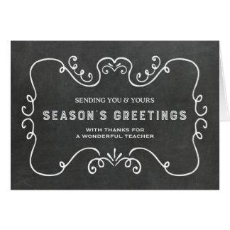 Vintage Chalkboard Teacher Christmas Card