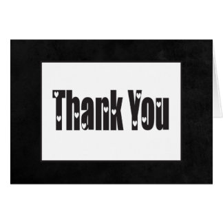 Vintage Chalkboard Thank You Black & White Hearts Card