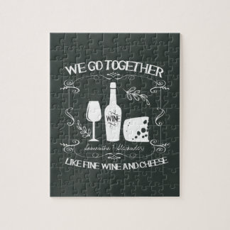 Vintage Chalkboard We Go Together Typography Jigsaw Puzzle