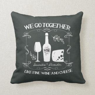 Vintage Chalkboard We Go Together Typography Pillow