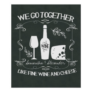 Vintage Chalkboard We Go Together Typography Posters