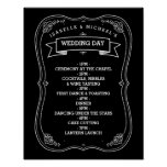 Vintage Chalkboard Wedding Day of Schedule Print