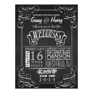 Vintage Chalkboard Wedding Invitation