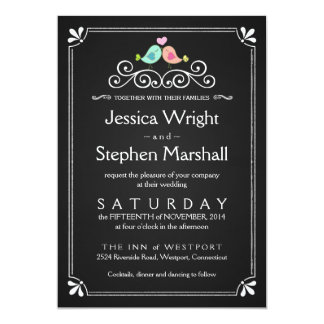 Vintage Chalkboard Wedding Love Birds Invite