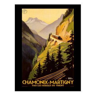Vintage Chamonix-Martigny Travel Postcard